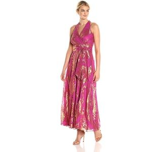 Chetta B Women's Metallic Floral Gown